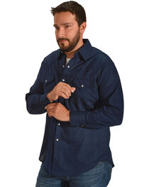 Ely Cattleman Men's Navy Windowpane Solid Long Sleeve Snap Shirt, , hi-res