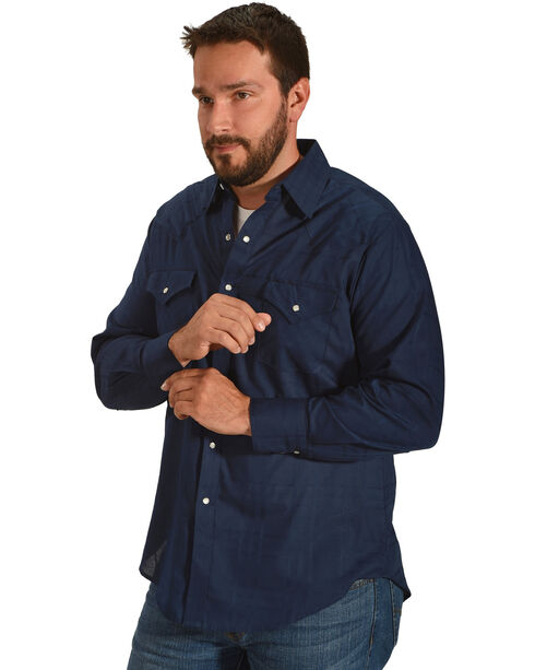 Ely Cattleman Men's Navy Windowpane Solid Long Sleeve Snap Shirt, Navy, hi-res
