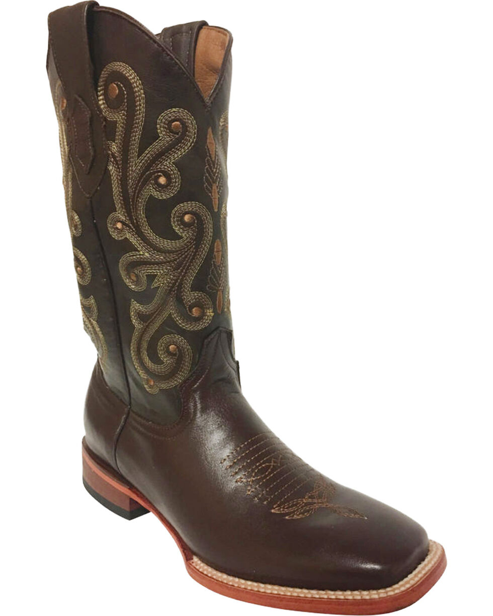 Ferrini Men's French Calf Chocolate Cowboy Boots - Square Toe, Chocolate, hi-res