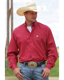 Cinch Men's Red Long Sleeve Small Print Shirt - Big and Tall, , hi-res