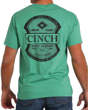 Cinch Men's Green Logo Screen Print Pocket Tee, Green, hi-res