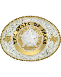 Montana Silversmiths State Of Texas Star Seal Western Buckle, , hi-res