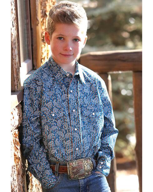 Cinch Boy's Paisley Printed Long Sleeve Shirt, Blue, hi-res
