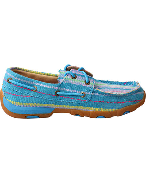 Twisted X Women's Canvas Driving Mocs, Blue, hi-res
