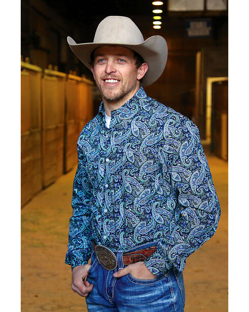 Cinch Men's Modern Fit Paisley Print Long Sleeve Button Down Shirt, Multi, hi-res