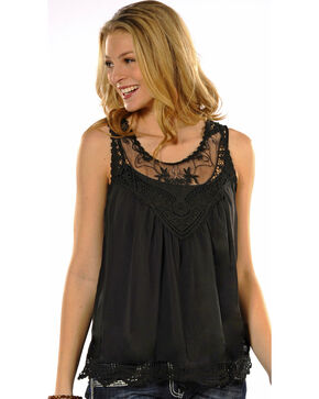Panhandle Slim Women's Black Chiffon Tank , Multi, hi-res