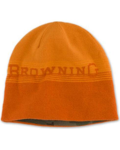 Browning Men's Alpine Reversible Orange and Camo Beanie, Orange, hi-res