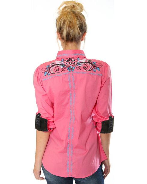 Grace in LA Women's Embroidered Western Long Sleeve Shirt, Pink, hi-res