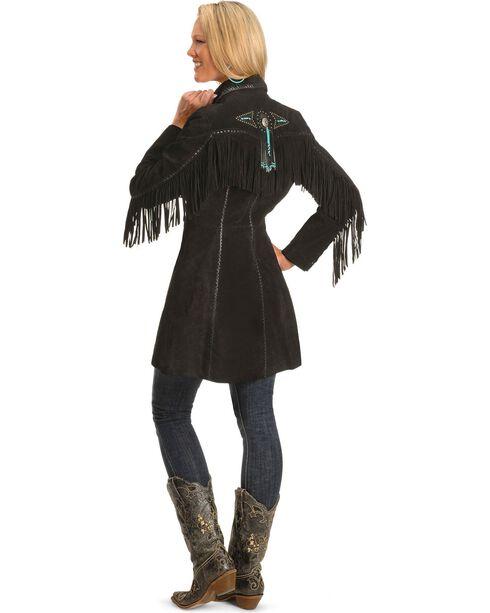 Scully Women's Boar Suede Fringe Coat, Black, hi-res