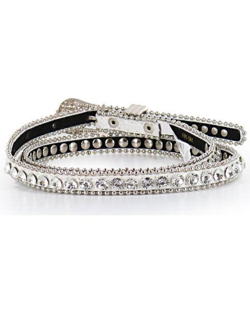 Shyanne® Women's Thin Rhinestone Studded Belt, White, hi-res