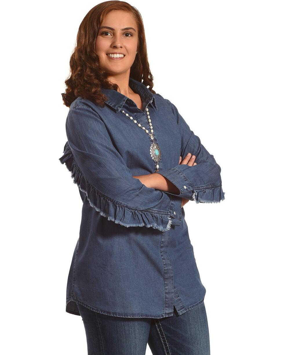 New Direction Women's Ruffle Detail Denim Shirt - Plus Size, Indigo, hi-res