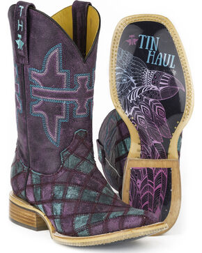 Tin Haul Women's Chevron Eagle Sole Cowgirl Boots - Square Toe, Purple, hi-res