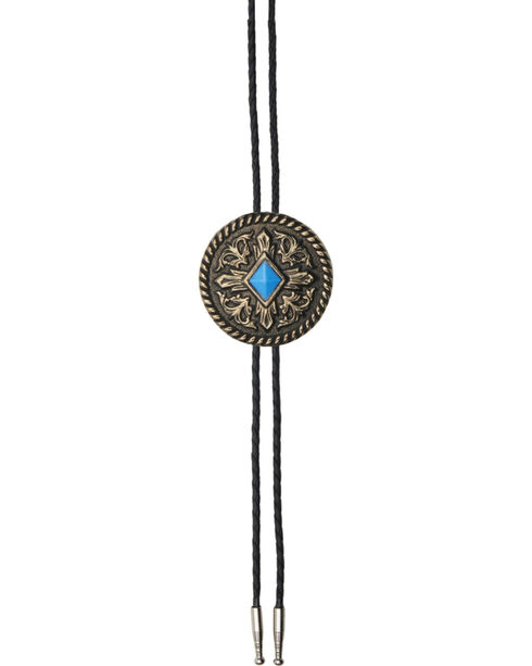 AndWest Men's Brass with Turquoise Diamond Bolo Tie, Gold, hi-res