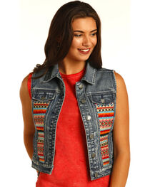 Rock & Roll Cowgirl Aztec Embroidered Denim Vest, , hi-res