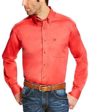 Ariat Men's Solid Twill Long Sleeve Button Down Shirt - Tall, Orange, hi-res