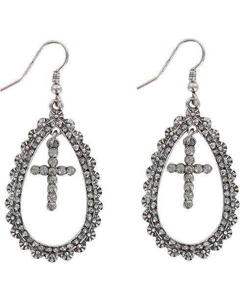 Shyanne® Women's Cross Teardrop Earrings , Silver, hi-res