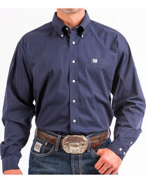 Cinch Men's Navy Solid Western Button-Down Shirt , Navy, hi-res