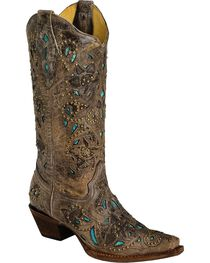 Corral Women's Studded Leather Inlay Western Boots, , hi-res