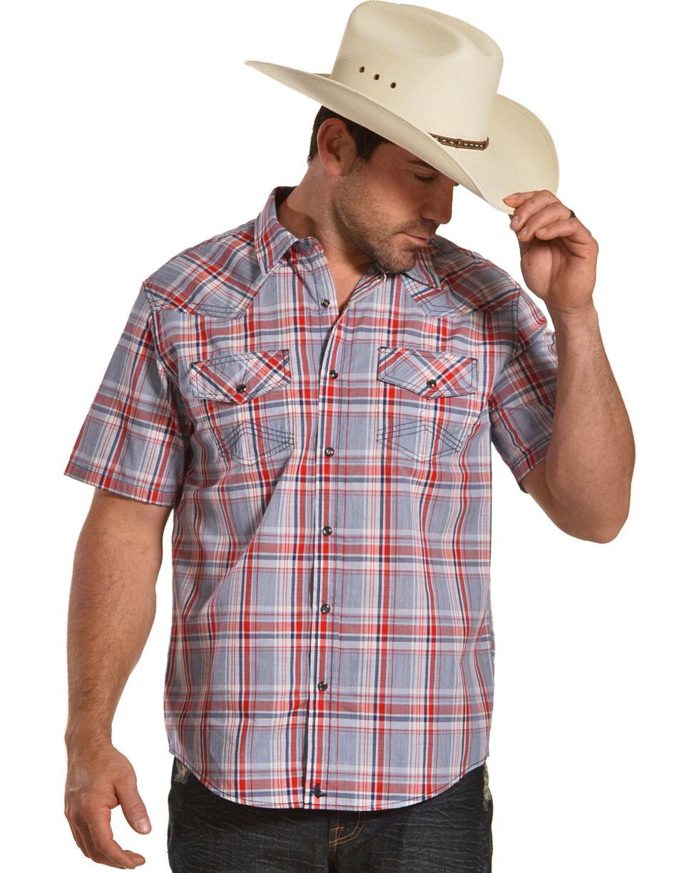Cody James Men's Radar Plaid Short Sleeve Western Snap Shirt - Tall, Blue, hi-res
