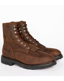 "Cody James Men's 8"" Waterproof Lace-Up Kiltie Work Boots - Round Toe, , hi-res"