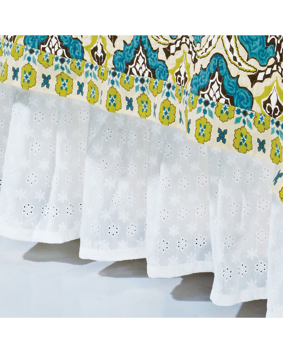 HiEnd Accents Eyelet King Bed Skirt, White, hi-res