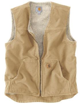 Carhartt Men's Sandstone Rugged Sherpa Lined Vest, Brown, hi-res
