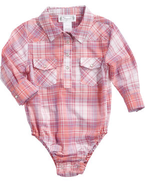 Shyanne Infant Girls' Woven Core Plaid Onesie, Coral, hi-res