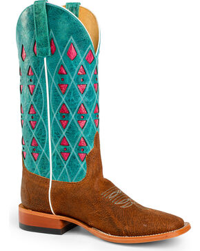 Horse Power Men's Turquoise Leather Cowboy Boots - Square Toe , Brown, hi-res