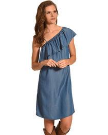 Given Kale Women's Indigo One Shoulder Ruffle Dress , , hi-res
