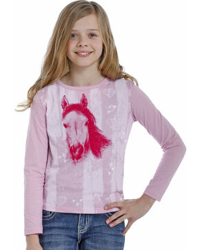Rock & Roll Cowgirl Girls' Pink Horse and Rhinestone Tee , Pink, hi-res