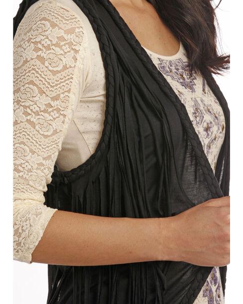 Rock & Roll Cowgirl Black Fringe Open Front Vest, Black, hi-res