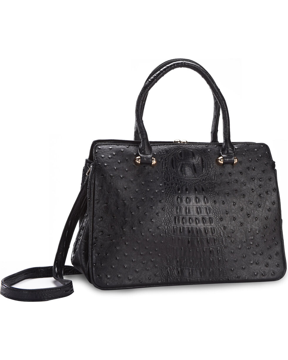 Wear N.E. Wear Women's Ostrich Print Handbag with Wallet, Black, hi-res