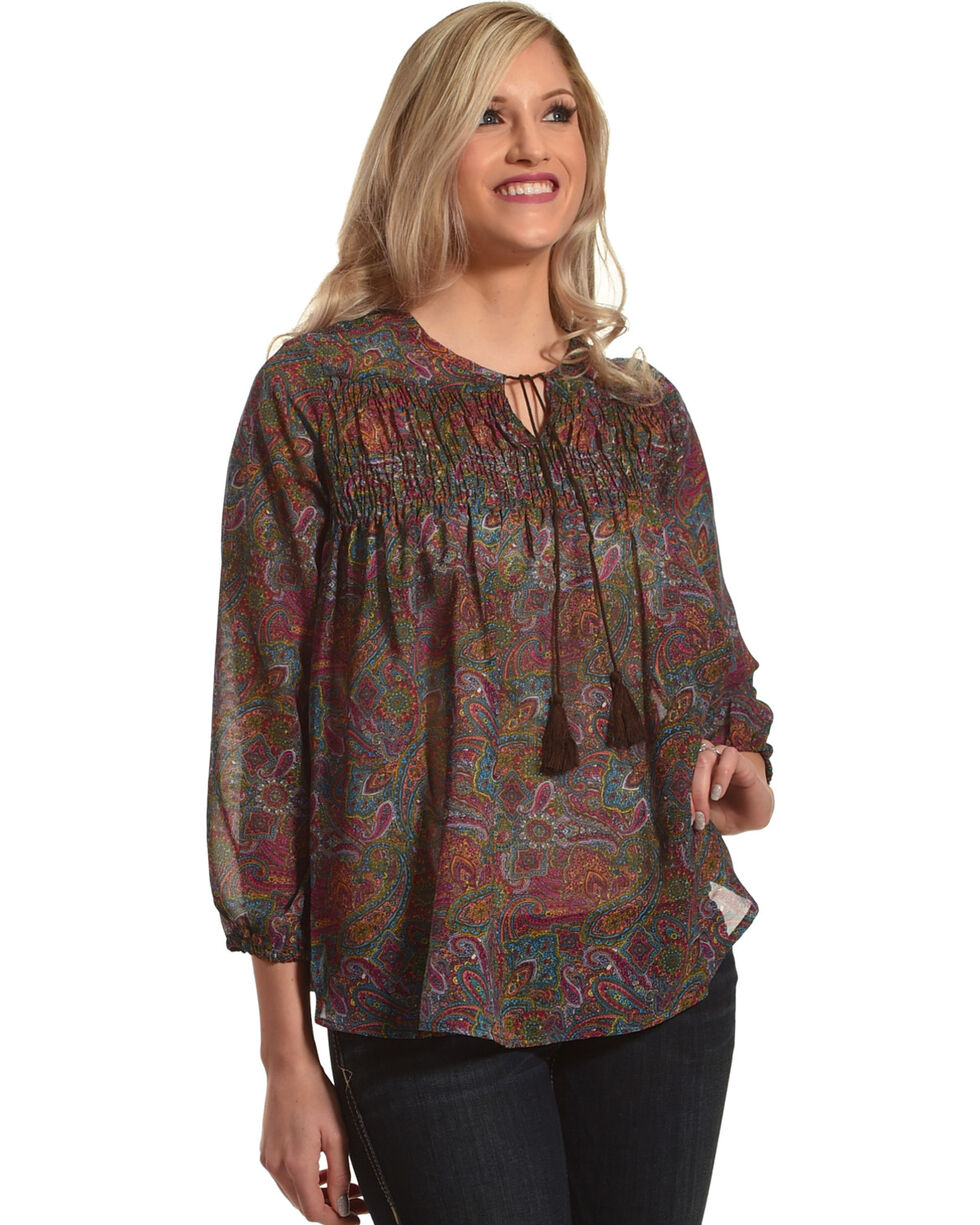 New Direction Sport Women's Paisley Print Top , Multi, hi-res