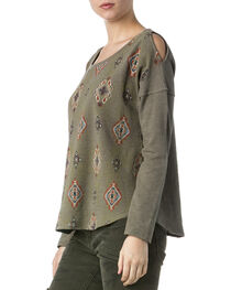 Miss Me Women's Olive Tribal Print Cold Shoulder Sweatshirt Top , , hi-res