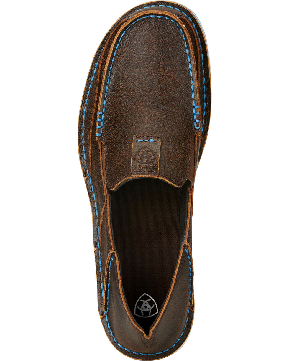 Ariat Men's Cruiser Leather Slip On Shoes - Moc Toe, Dark Brown, hi-res