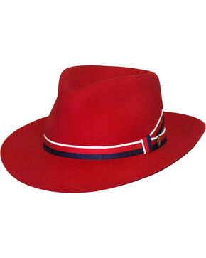 Stetson Women's Aviatrix Fedora Hat , Red, hi-res