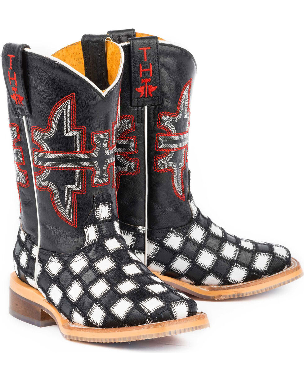 Tin Haul Boys' Checkmate Star Sole Cowboy Boots - Square Toe, Black, hi-res