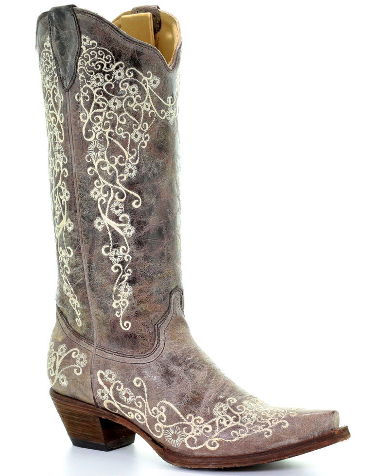 corral women s bone embroidery western boots boot barn