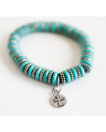 West & Co. Women's Burnished Silver and Turquoise Flat Bead Stretch Bracelet, , hi-res