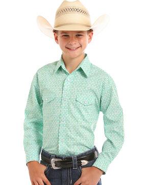 Rough Stock by Panhandle Boys' Green Print Shirt , Green, hi-res