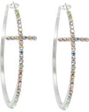 Shyanne® Women's Rhinestone Cross Hoop Earrings, Silver, hi-res