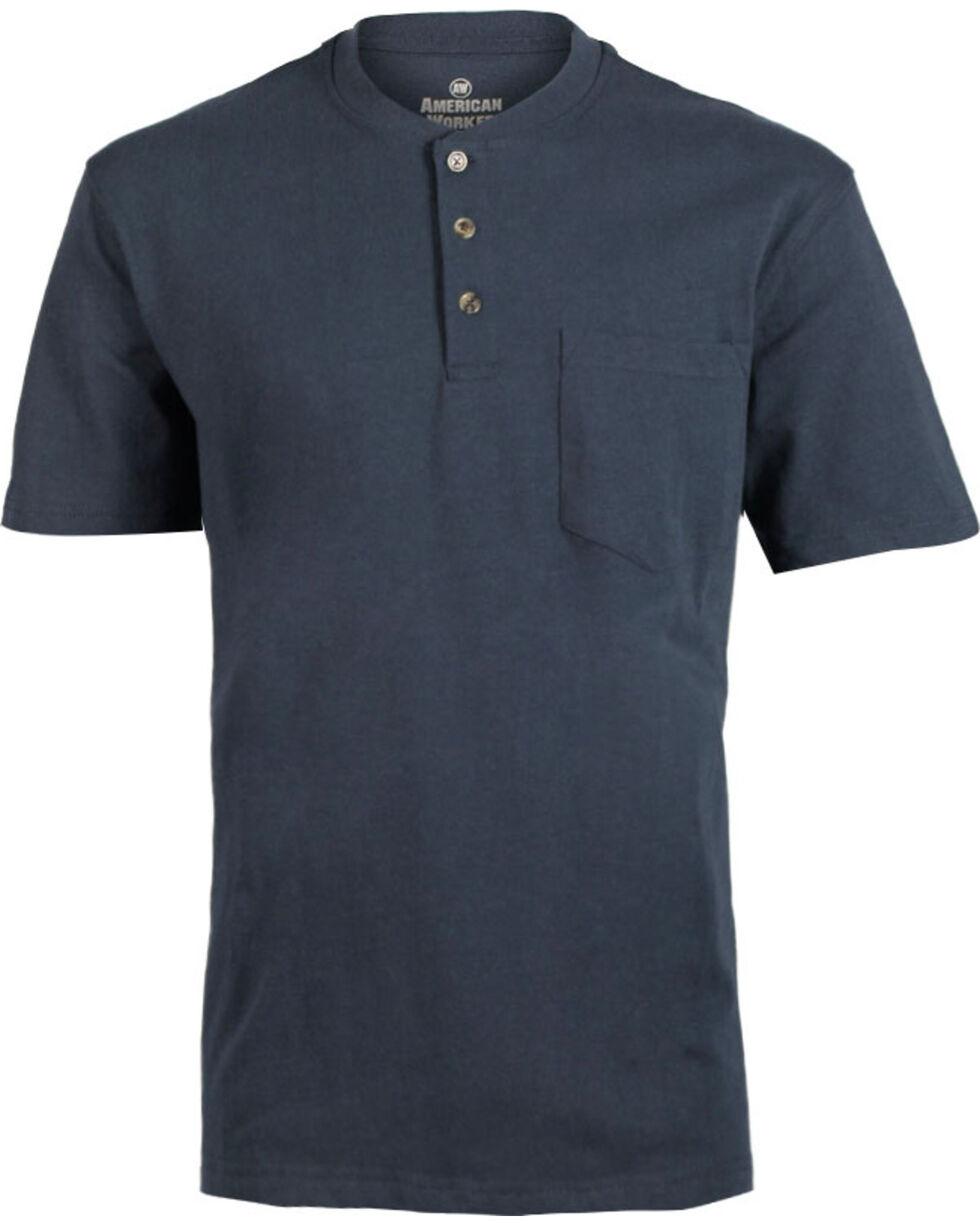 American Worker® Men's Solid Short Sleeve T-Shirt, Navy, hi-res