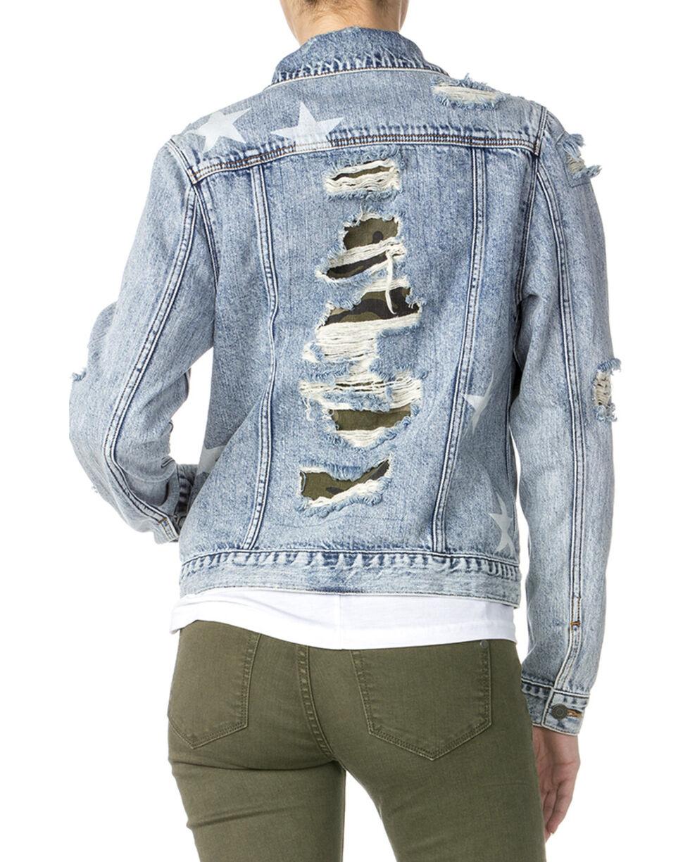Miss Me Women's Destructed Denim Camo Jacket , Indigo, hi-res