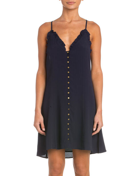 Miss Me Navy Simple Front Button Dress, Navy, hi-res