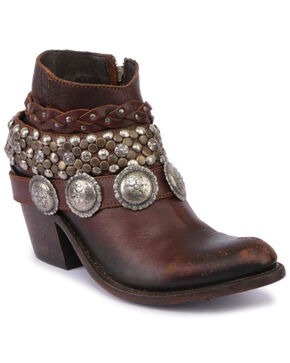 Liberty Black Women's Brown Concho Harness Short Boots - Round Toe , Brown, hi-res