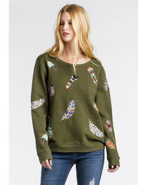 MM Vintage Women's Olive Feather Embroidered Sweatshirt , , hi-res