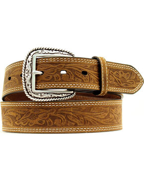 Ariat Floral Embossed Leather Belt, Brown, hi-res