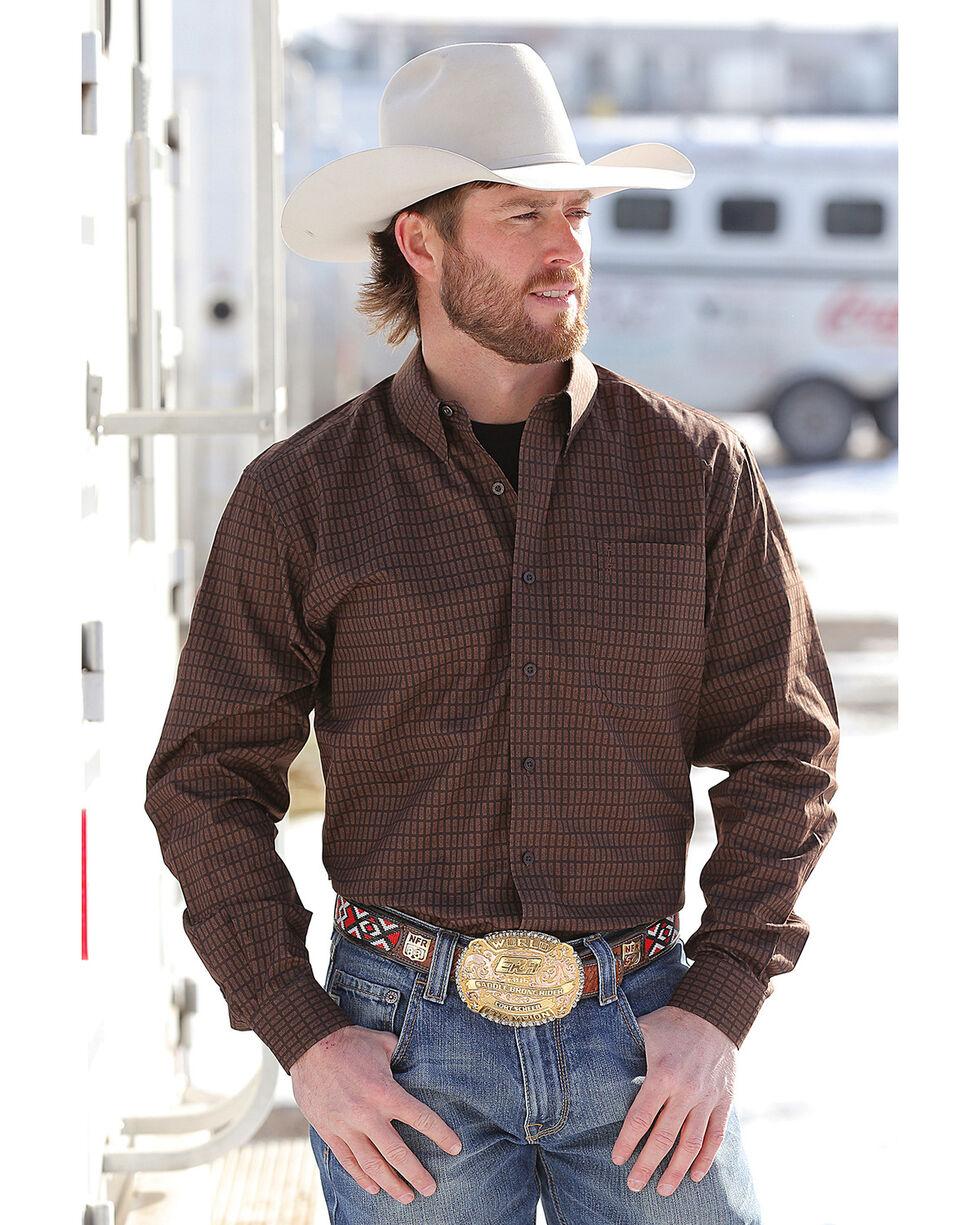 Cinch Men's Brown Print Modern Fit Western Shirt , Brown, hi-res