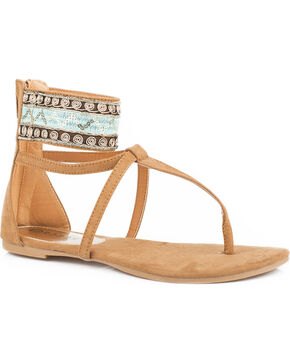 Roper Women's Tan Callie Sandals , Tan, hi-res