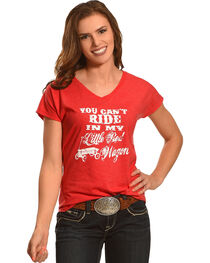 Cowgirl Justice Women's Red Wagon V-Neck Tee, , hi-res